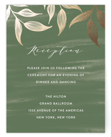 This is a portrait botanical, rustic, green Reception Cards by Roopali called Elegance with Foil Pressed printing on Signature in Card Flat Card format. A wedding invite with beautiful hand sketched leaves in gold foil and painted watercolor background