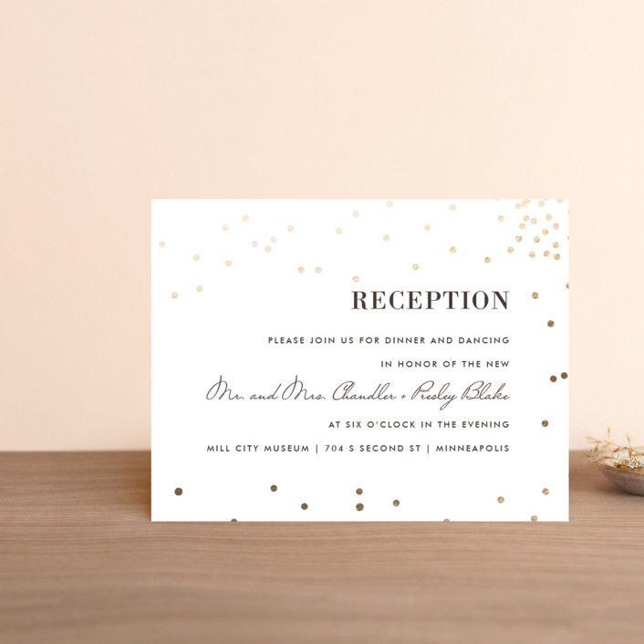 """""""Thrilling"""" - Preppy Foil-pressed Reception Cards in Gold by Design Lotus."""