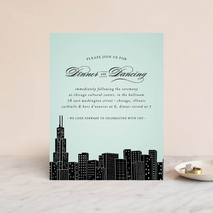 """""""Big City - Chicago"""" - Foil-pressed Reception Cards in Mint by Hooray Creative."""