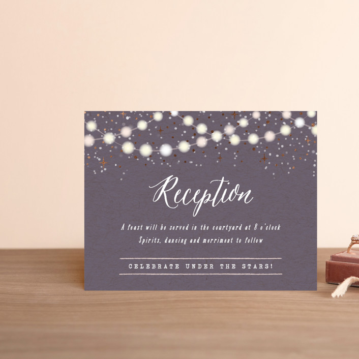 """Garden Lights"" - Rustic Foil-pressed Reception Cards in Plum by Hooray Creative."
