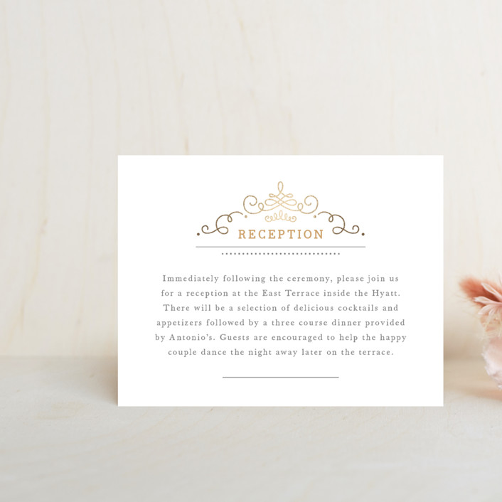 """""""Ornate Monogram"""" - Modern Foil-pressed Reception Cards in Gold by Kristen Smith."""