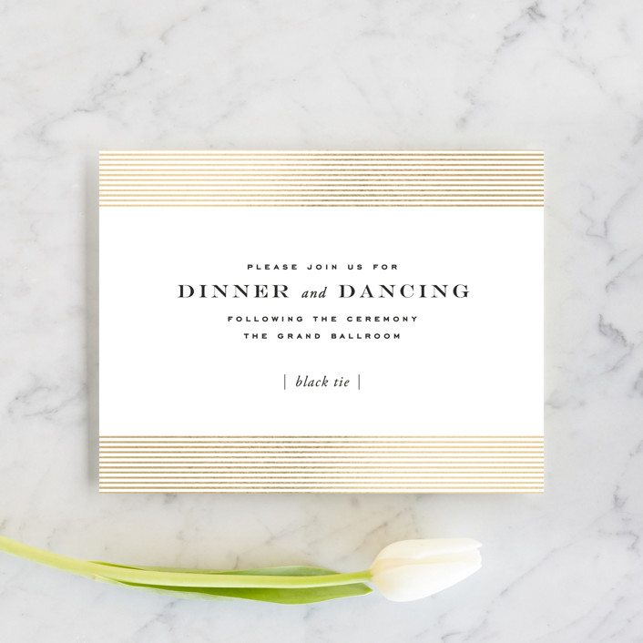 """Majestic"" - Whimsical & Funny, Vintage Foil-pressed Reception Cards in Gold by Oscar & Emma."