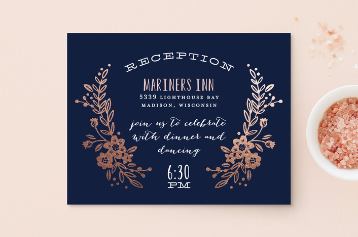 """""""Wildflower Crest"""" - Rustic Foil-pressed Reception Cards in Navy by Alethea and Ruth."""