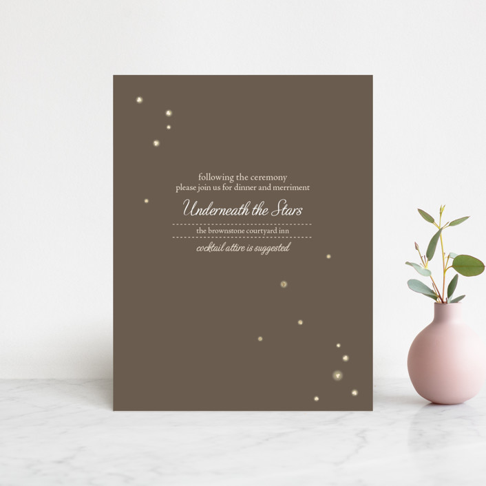 """""""Fireflies"""" - Foil-pressed Reception Cards in Zuni Brown by Paige Rothhaar."""