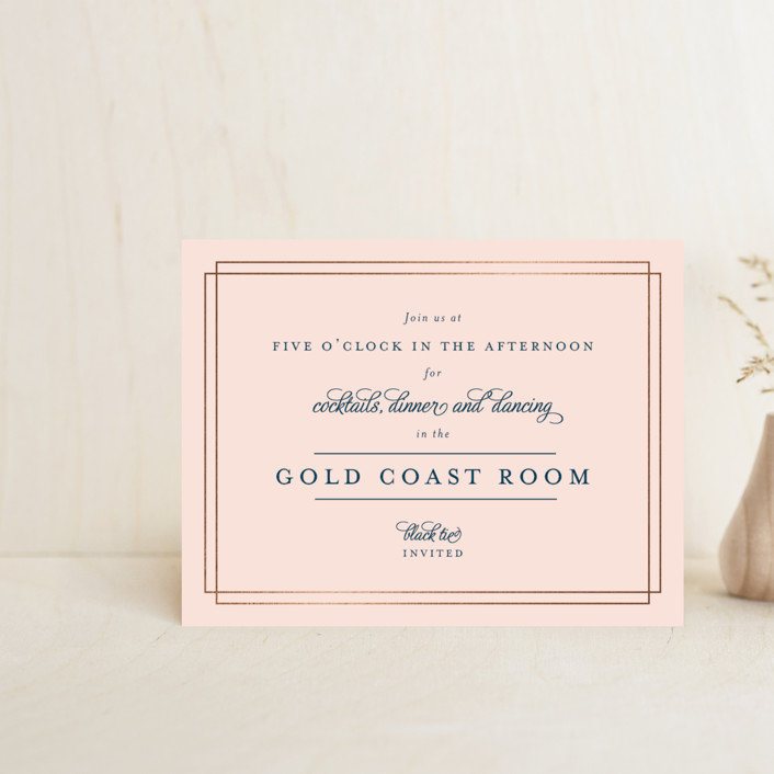"""""""Chic Gala"""" - Classical Foil-pressed Reception Cards in Cotton Candy by Kimberly FitzSimons."""