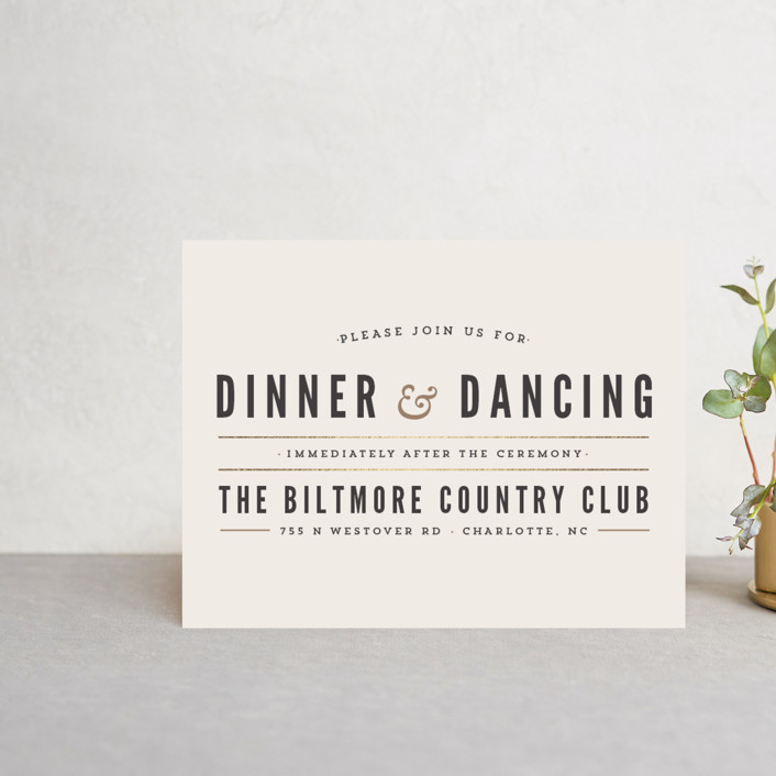 """""""Classic Type"""" - Simple, Bold typographic Foil-pressed Reception Cards in Mocha by Pistols."""
