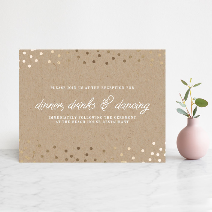 """Starlight"" - Whimsical & Funny, Preppy Foil-pressed Reception Cards in Kraft by Saltwater Designs."