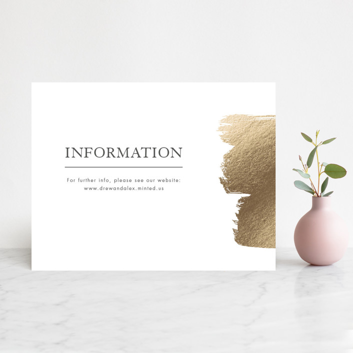 """A Love So Bright"" - Modern Foil-pressed Reception Cards in Gold by Seven Swans."