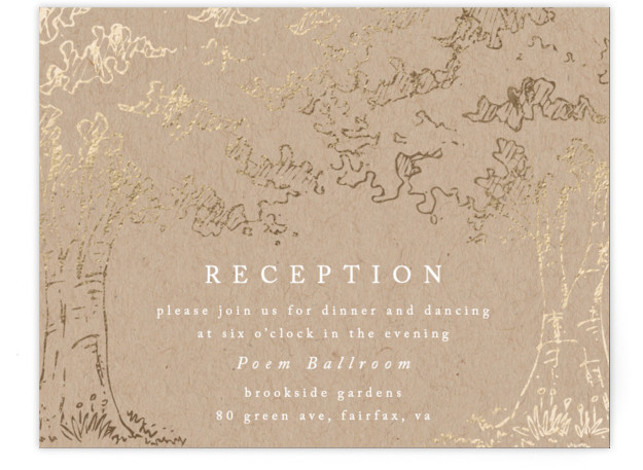 This is a landscape botanical, illustrative, rustic, whimsical, brown, gold Reception Cards by Qing Ji called A Poem For The Trees with Foil Pressed printing on Signature in Card Flat Card format. An elegant and modern design featuring hand drawn ...