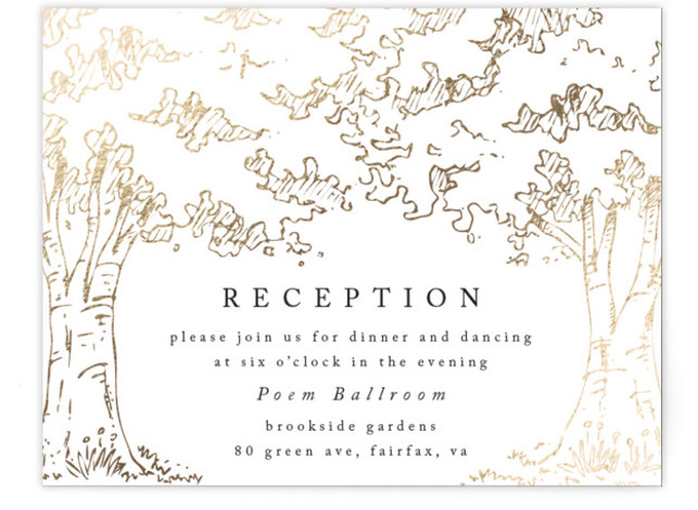 This is a landscape botanical, illustrative, rustic, whimsical, white, gold Reception Cards by Qing Ji called A Poem For The Trees with Foil Pressed printing on Signature in Card Flat Card format. An elegant and modern design featuring hand drawn ...