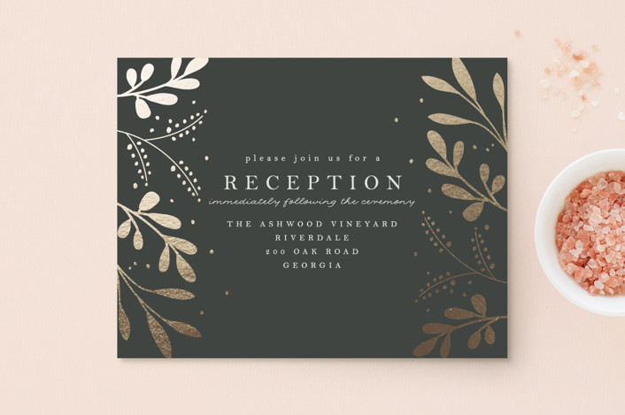 """""""Adorn"""" - Rustic Foil-pressed Reception Cards in Charcoal by Angela Thompson."""