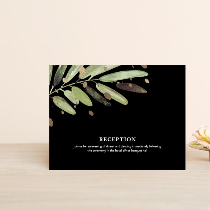 """Al Fresco"" - Rustic Foil-pressed Reception Cards in Snow by Haley Warner."