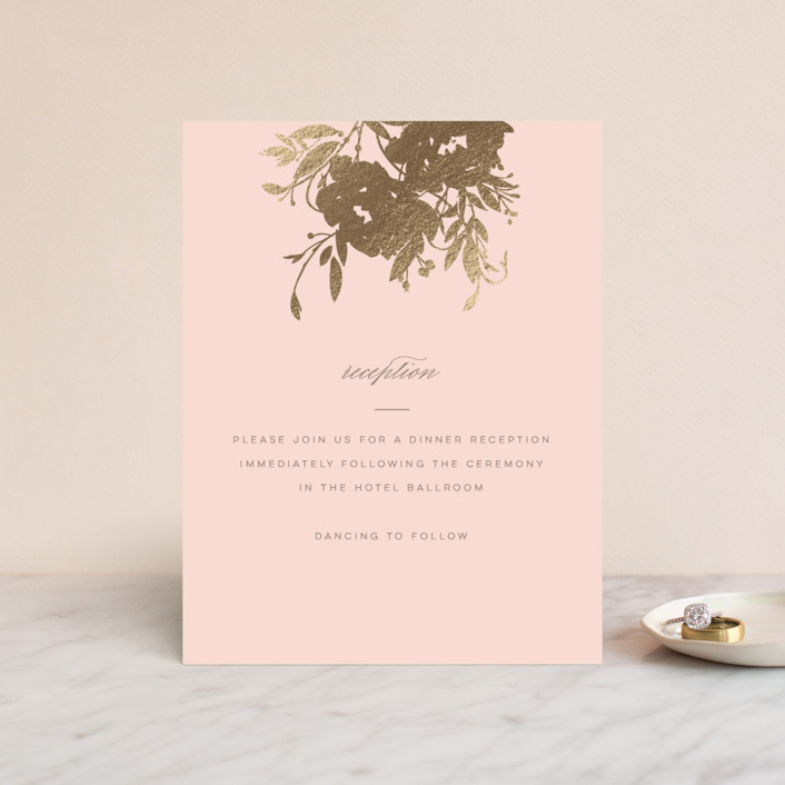 """Beauty"" - Simple, Floral & Botanical Foil-pressed Reception Cards in Blush by Lori Wemple."