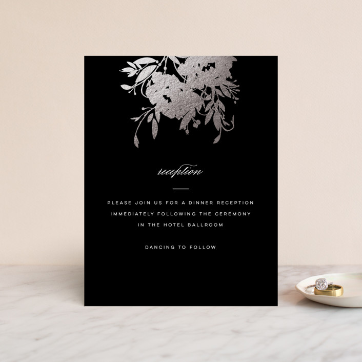 """Beauty"" - Simple, Floral & Botanical Foil-pressed Reception Cards in a by Lori Wemple."