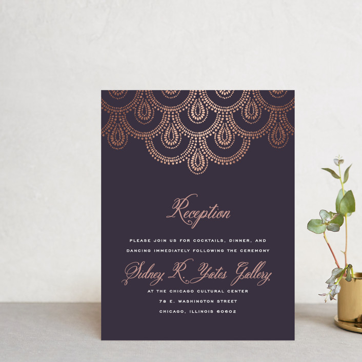 """""""Captivating"""" - Bohemian, Vintage Foil-pressed Reception Cards in Plum by Design Lotus."""