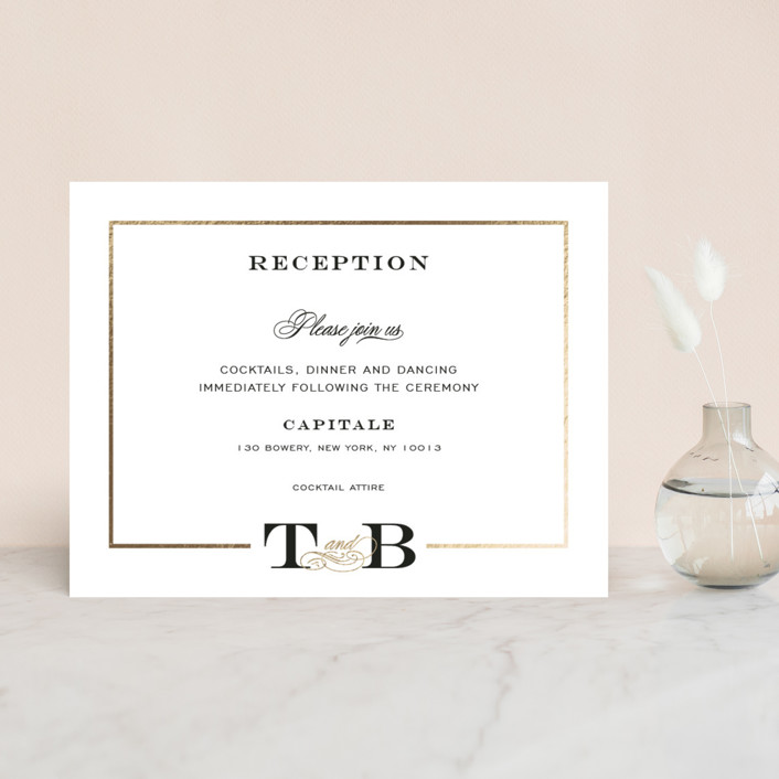 """Chic Monogram"" - Foil-pressed Reception Cards in Ivory by Kimberly FitzSimons."