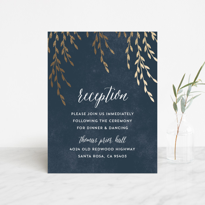 """Foil Foliage"" - Rustic Foil-pressed Reception Cards in Midnight Blue by Anupama."
