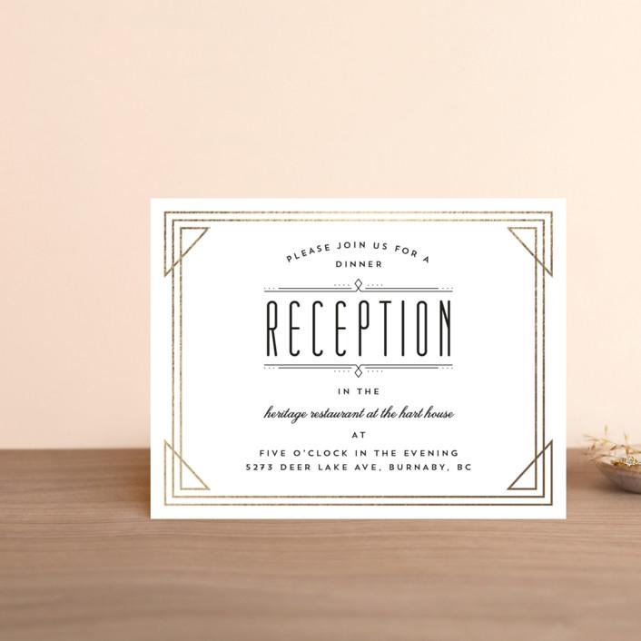 """Framed Deco Elegance"" - Vintage Foil-pressed Reception Cards in Classic White by Kelly Schmidt."
