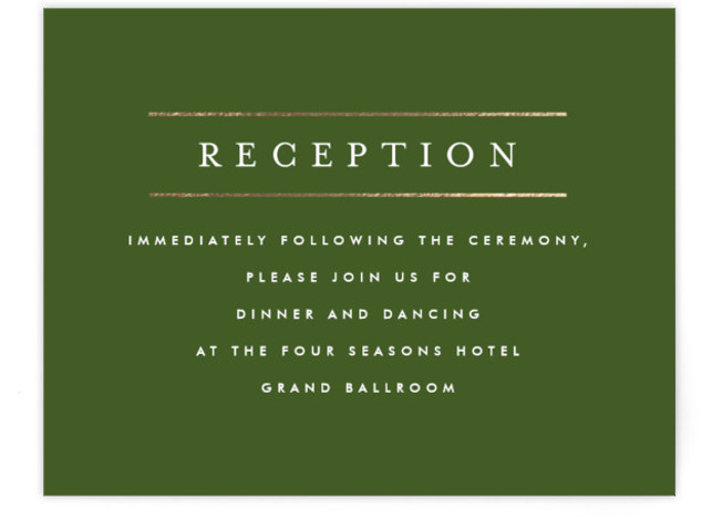 This is a landscape classic and formal, simple and minimalist, green, gold Reception Cards by Fig and Cotton called Gold Bars with Foil Pressed printing on Signature in Card Flat Card format. This masculine invitation is perfect for any formal ...