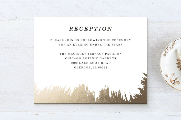 """""""Brush Work"""" - Foil-pressed Reception Cards in Gold by Baumbirdy."""