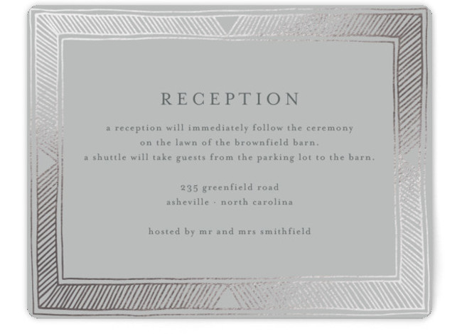 This is a landscape bohemian, silver Reception Cards by Katharine Watson called Hand Drawn Gilded Frame with Foil Pressed printing on Signature in Card Flat Card format. This design uses a hand drawn geometric border to create an eye catching, ...