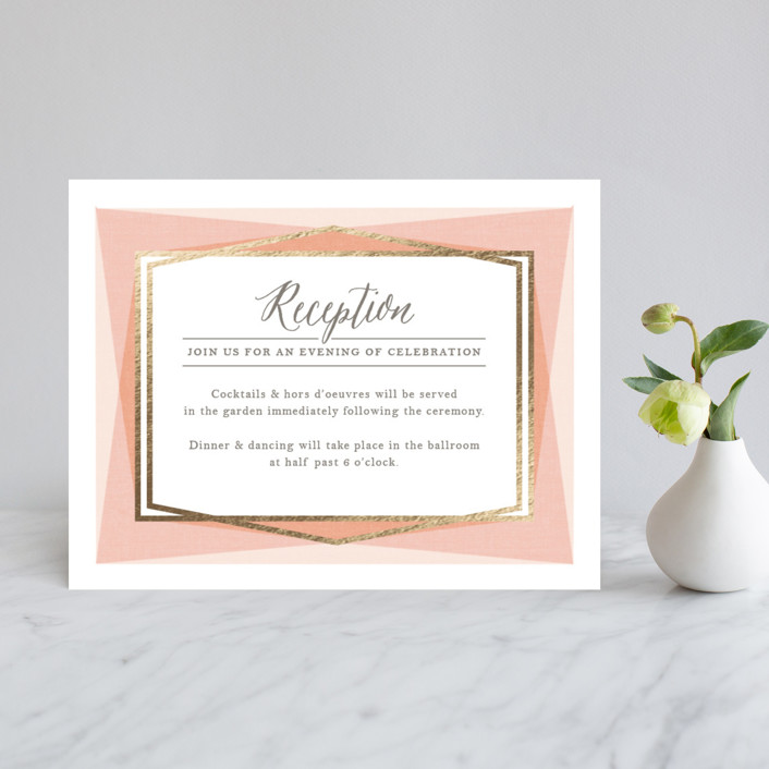 """Modern Angles"" - Modern Foil-pressed Reception Cards in Peach by Karidy Walker."