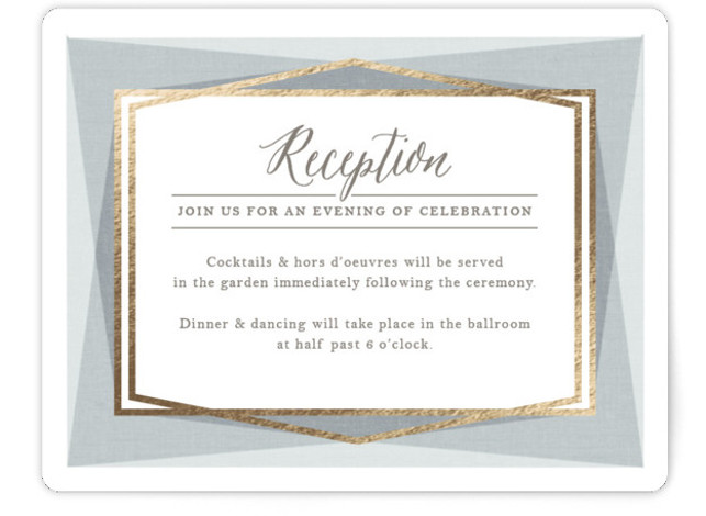 This is a landscape modern, grey, gold Reception Cards by Karidy Walker called Modern Angles with Foil Pressed printing on Signature in Card Flat Card format. Modern angles with soft texture and subtle gold lines make this a beautiful and ...