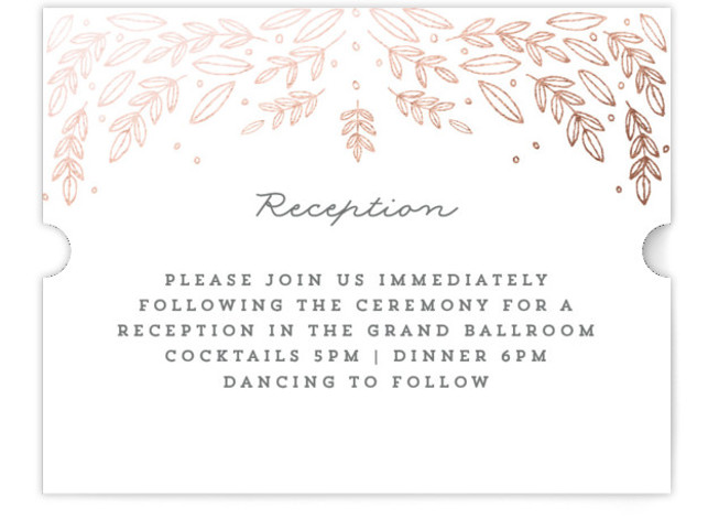 This is a landscape botanical, rosegold Reception Cards by Bethan called Natural Frame with Foil Pressed printing on Signature in Card Flat Card format. A modern and elegant wedding invitation featuring a hand drawn, botanical border.