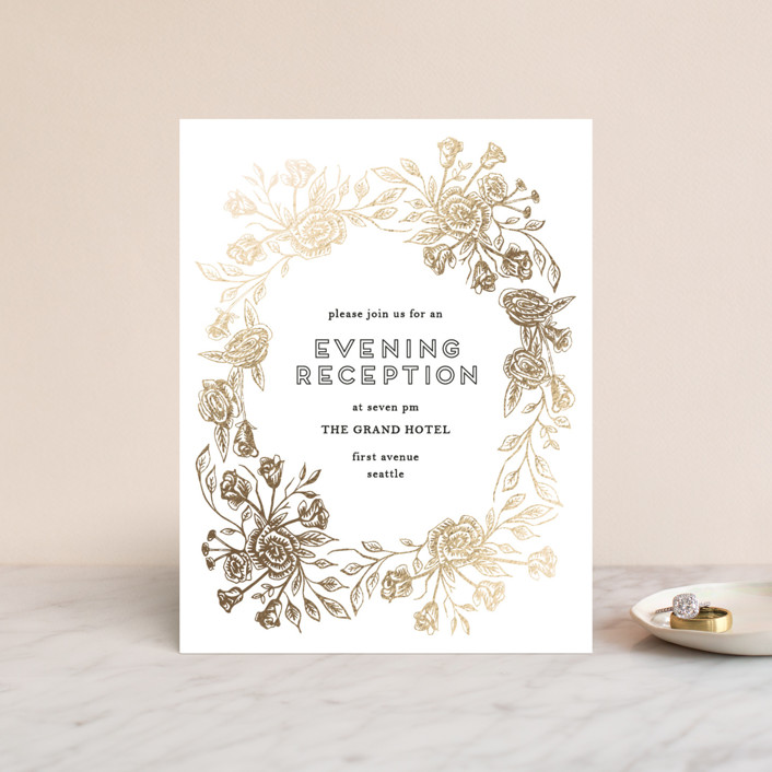 """Posies"" - Foil-pressed Reception Cards in Honey by Phrosne Ras."