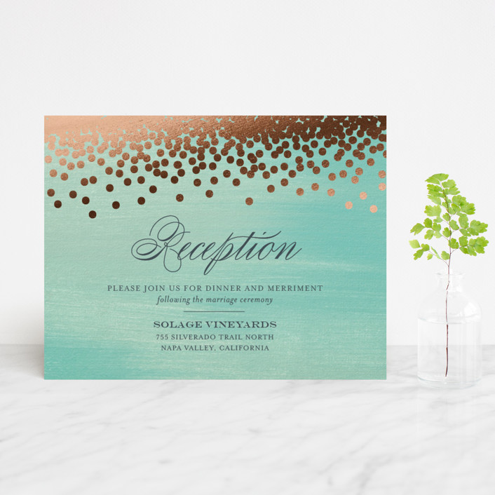 """Confetti"" - Bohemian, Whimsical & Funny Foil-pressed Reception Cards in Teal by Eric Clegg."