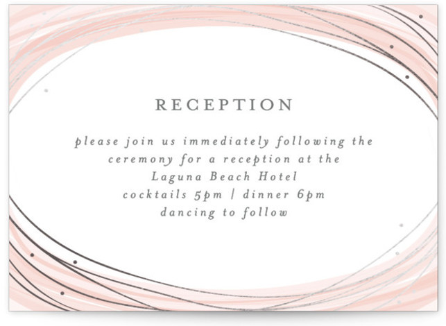 This is a landscape bohemian, illustrative, painterly, pink Reception Cards by Bethan called Watercolour Wreath with Foil Pressed printing on Signature in Card Flat Card format. A modern and elegant save the date design with a gold foil detail.