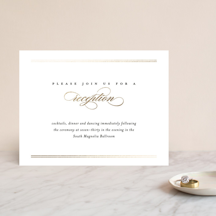 """Lustre"" - Foil-pressed Reception Cards in Gold by Jessica Williams."