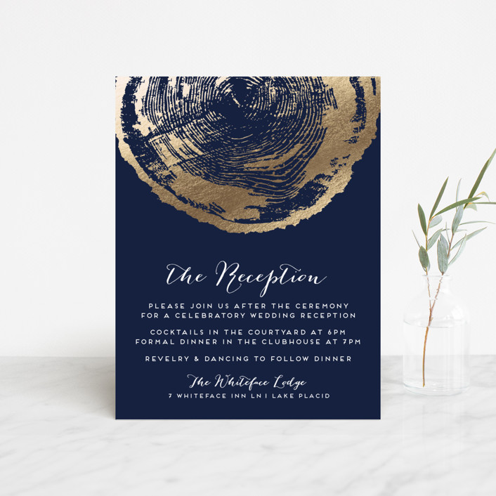 """Ponderosa"" - Rustic, Bohemian Foil-pressed Reception Cards in Starry by shoshin studio."