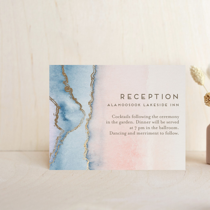 """Simple Agate"" - Rustic, Bohemian Foil-pressed Reception Cards in Cherry Blossom by Petra Kern."