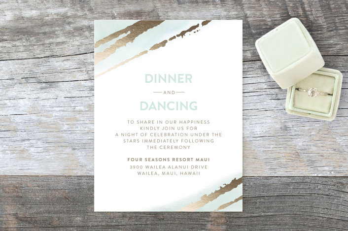 """Sublime Love"" - Modern Foil-pressed Reception Cards in Seafoam by Ana Sharpe."