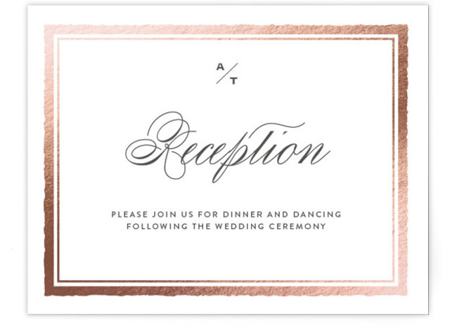 This is a landscape classical, elegant, rosegold Reception Cards by Eric Clegg called Deckled Edge with Foil Pressed printing on Signature in Card Flat Card format. This wedding announcement features a timeless understated look with a deckled edge frame and ...