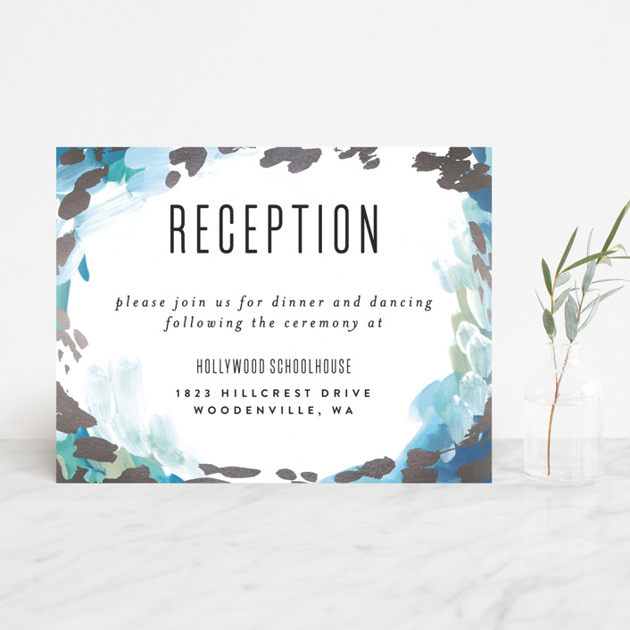 """Gallery Abstract Art"" - Bohemian Foil-pressed Reception Cards in Ocean by Alethea and Ruth."