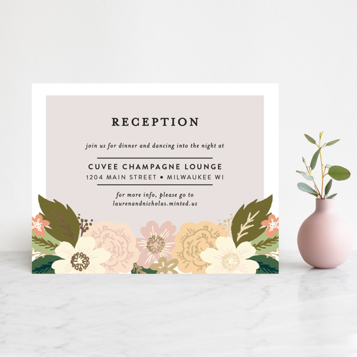 """Classic Floral"" - Floral & Botanical Foil-pressed Reception Cards in Spring Blush by Alethea and Ruth."