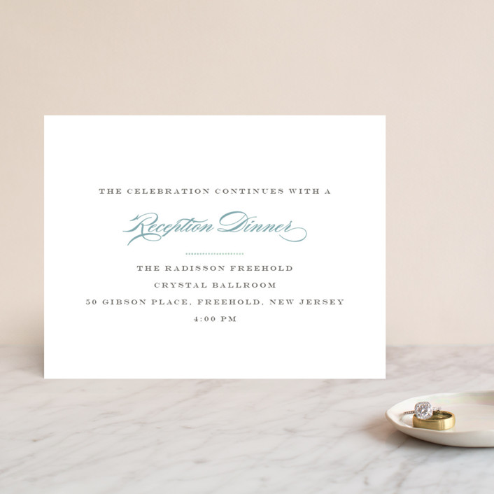 """Charming Go Lightly"" - Monogrammed, Elegant Foil-pressed Reception Cards in Sky Blue by danielleb."
