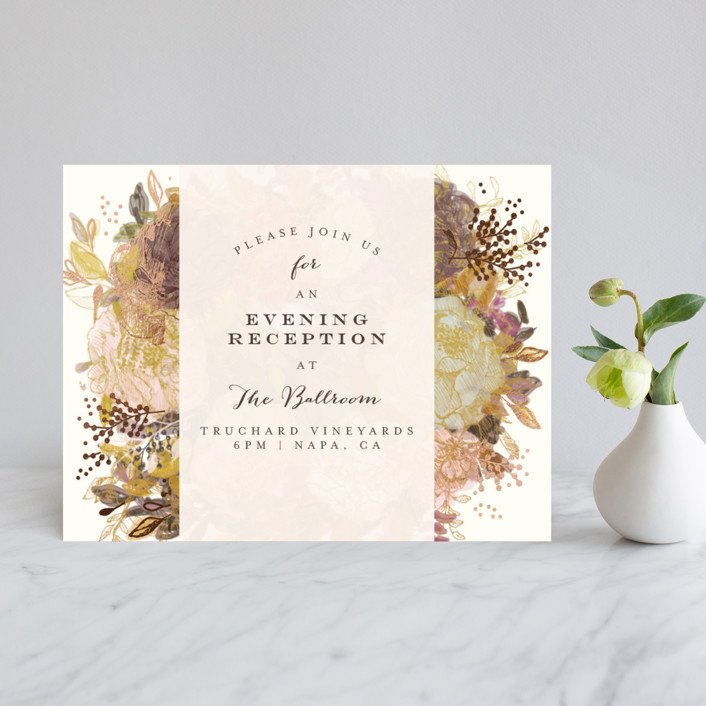 """""""Floral Feast"""" - Foil-pressed Reception Cards in Rose Gold by Phrosne Ras."""