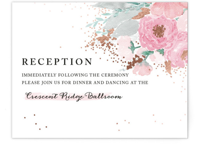This is a landscape floral, hand drawn, pink Reception Cards by Qing Ji called fresh watercolor floral with Foil Pressed printing on Signature in Card Flat Card format. Fresh and bold, this invitation features hand painted watercolor flowers, with elegant ...