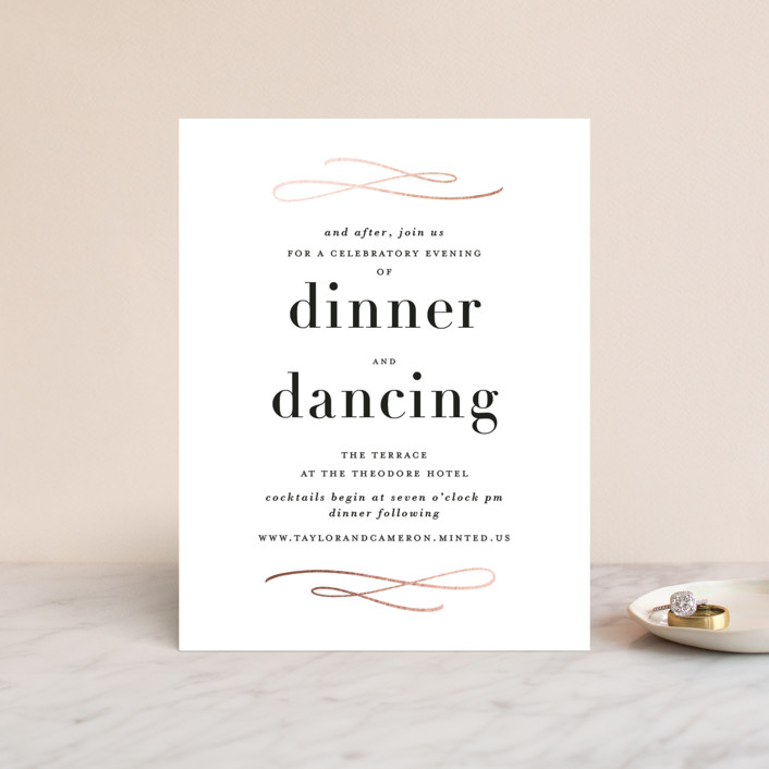 """Sophisticate"" - Foil-pressed Reception Cards in Rose Gold by Lauren Chism."