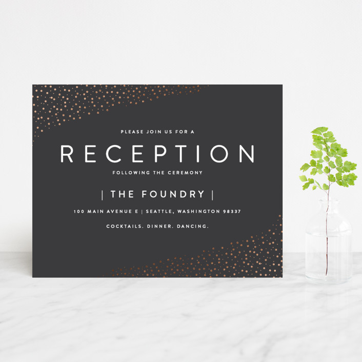"""""""Modern Glam"""" - Foil-pressed Reception Cards in Soft Black by Robinson Paperie."""