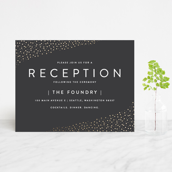 """Modern Glam"" - Foil-pressed Reception Cards in Soft Black by Robinson Paperie."