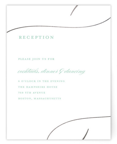 This is a black and white, silver Reception Cards by Stacey Meacham called So in Love with Foil Pressed printing on Signature in Card Flat Card format. An elegant wedding invitation with large love calligraphy and romantic flourishes.