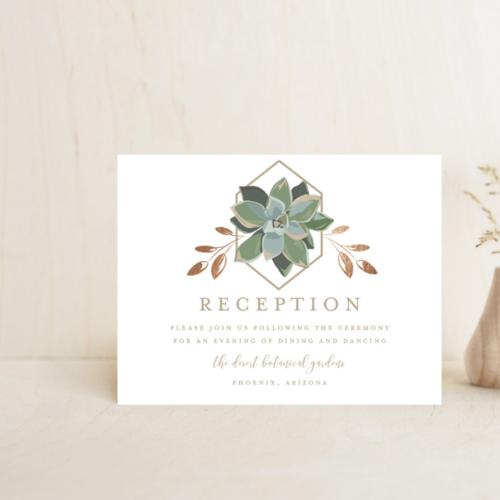 """""""Succulent Surround"""" - Foil-pressed Reception Cards in Cloud by Susan Moyal."""