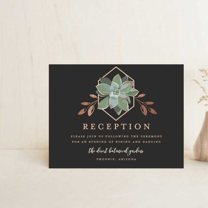 """Succulent Surround"" - Foil-pressed Reception Cards in Tuxedo by Susan Moyal."