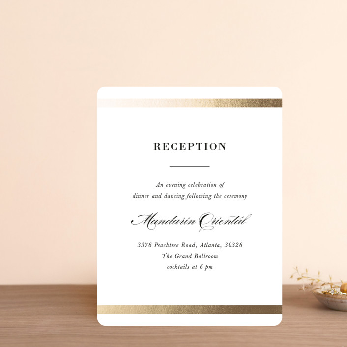 """""""Classic Monogram"""" - Foil-pressed Reception Cards in Snow by Stacey Meacham."""
