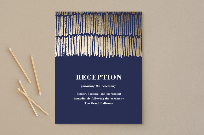 """Shimmer"" - Foil-pressed Reception Cards in Midnight by Olivia Raufman."