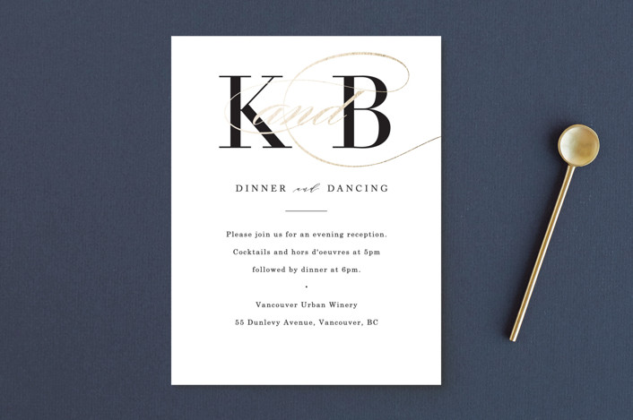 """Elegant Initials"" - Foil-pressed Reception Cards in Ivory by Kelly Schmidt."